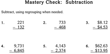Subtraction with Regrouping, 3rd grade - Individualized Math - worksheets
