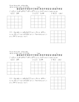 Subtraction with Regrouping 4 digits and Across Zeros Exit Tickets