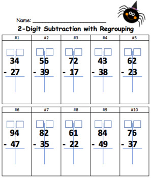 2-Digit Subtraction with Regrouping (Halloween)