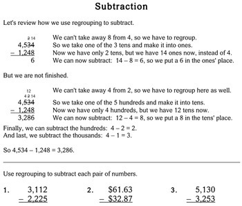 Subtraction with Regrouping, 4th grade - Individualized Math - worksheets