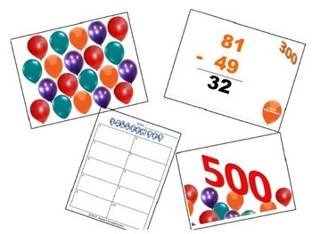 Subtraction with Regrouping Balloon Pop Review Game