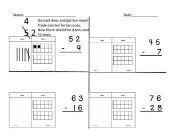 subtraction with regrouping space for base ten drawing by brandy lincoln. Black Bedroom Furniture Sets. Home Design Ideas