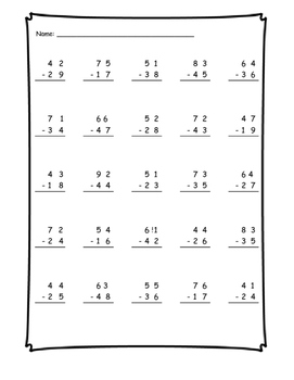 Subtraction with Regrouping Bundle: Two and Three Digits