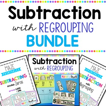 Subtraction with Regrouping Bundle by Marvel Math