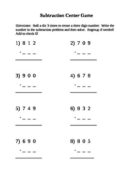 Subtraction with Regrouping Center Game