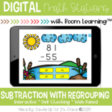 Subtraction with Regrouping Digital Task Cards | Boom Card