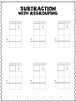 Subtraction with Regrouping Graphic Organizers