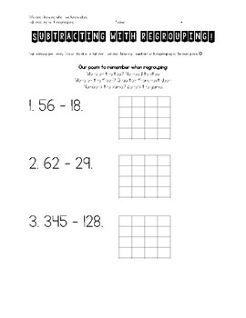 Subtraction with Regrouping Guided Practice Mini Bundle