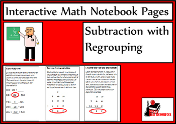 Subtraction with Regrouping Lesson for Interactive Math Notebooks