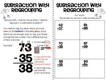 Subtraction with Regrouping Mini-Sheet