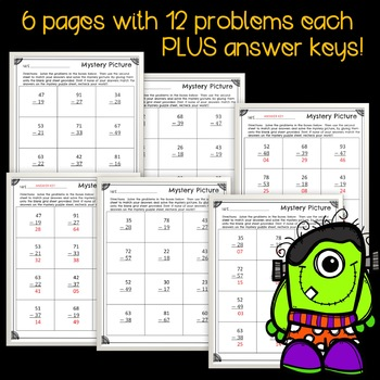 Subtraction with Regrouping Mystery Picture - Halloween Themed