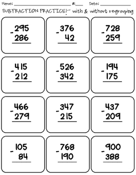 Subtraction with Regrouping Practice
