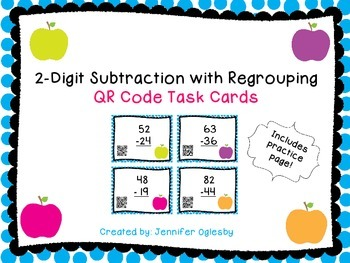 Subtraction with Regrouping QR Code Task Cards