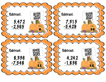 Subtraction with Regrouping QR Task Cards