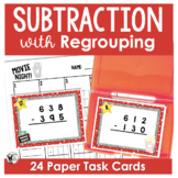 Subtraction with Regrouping Scoot Game/Task Cards- Movie Themed