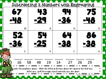 Subtraction with Regrouping (St. Patrick's Day, 2-digit)