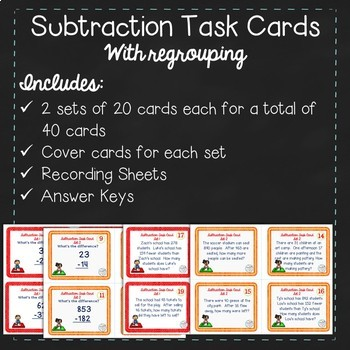 Subtraction with Regrouping Task Cards