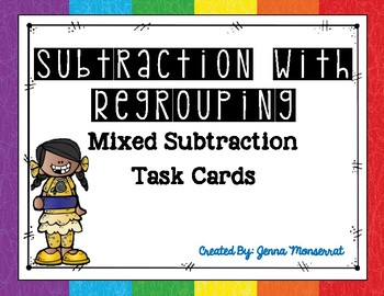 Subtraction with Regrouping Task Cards - Mixed Subtraction