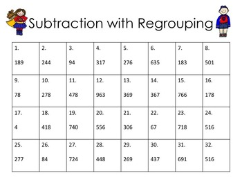 subtraction with regrouping task cards super hero by i love my classroom. Black Bedroom Furniture Sets. Home Design Ideas