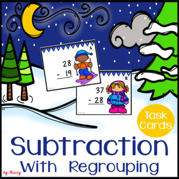Subtraction with Regrouping Task Cards - Winter Edition
