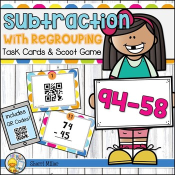 Subtraction with Regrouping Task Cards and Scoot Game