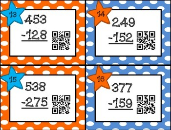 Subtraction with Regrouping Task Cards with QR Codes