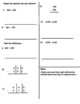 Subtraction with Regrouping Test