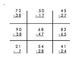Subtraction with Regrouping Tic-Tac-Toe