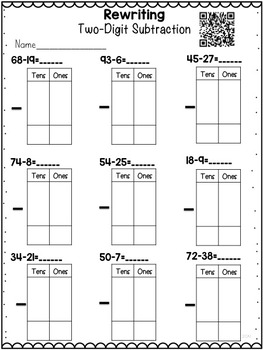 Subtraction with Regrouping Unit {Instructional Video and Homework} Sample Page