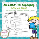 Subtraction with Regrouping Unit {Instructional Videos, As