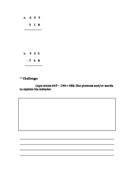 Subtraction with Regrouping Word Problem