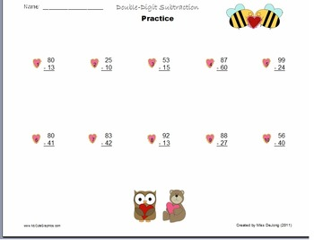 Subtraction with Regrouping - self generating worksheet wi