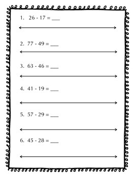 Subtraction with Regrouping using a Number Line & Hundred Chart - Common Core