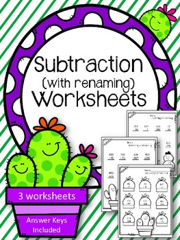 Subtraction with Renaming worksheets.  Subtraction with borrowing. Cactus