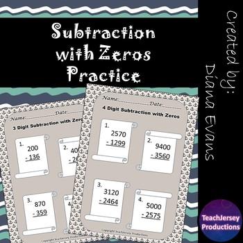 Subtraction with Zeros Practice