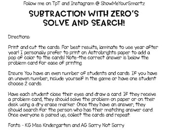 Subtraction with Zeros - Solve & Search!