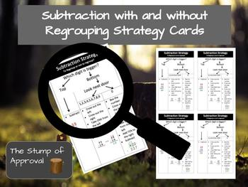 Subtraction with and without Regrouping Strategy Cards
