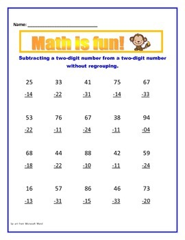 Math: Subtraction with and without regrouping