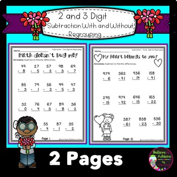 Subtraction with and without regrouping -FREEBIE SAMPLE