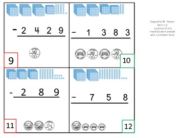 2nd Grade Math Calendar - 1,000's Subtraction with base ten regrouping, Money