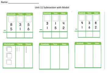 Subtraction with model- practice and review- ENVISIONS Unit 11