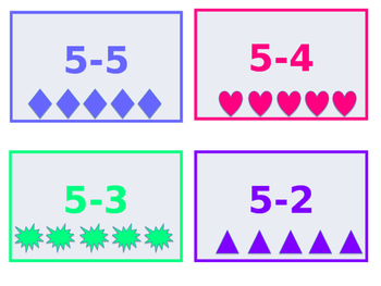 Subtraction with pictures #'s 1-5