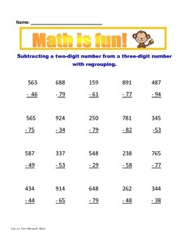 Math: Subtraction with regrouping - Aligned to common core