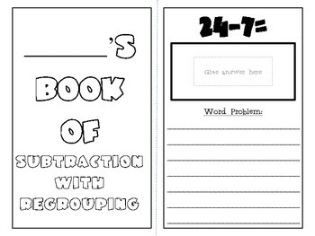 Subtraction {with regrouping} Matching Book