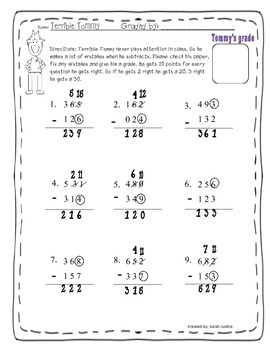 Subtraction with regrouping ( Terrible Tommy Activity)