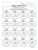 3-Digit Subtraction - Fall Apples Coloring Page - NO PREP