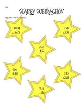 Subtraction with regrouping game and follow-up sheet