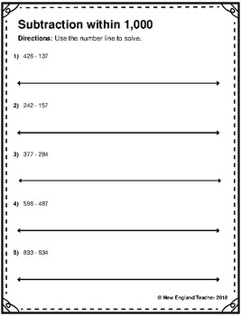 Subtraction within 1,000 on an Open Number Line