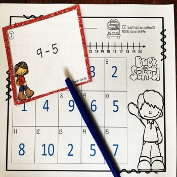 Subtraction within 10 ~ Back to School Math Center ~ Task Cards