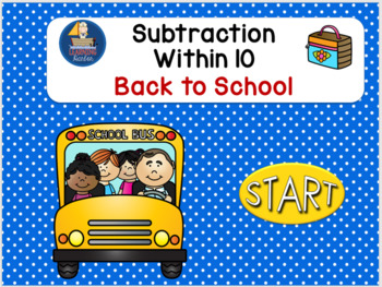 Subtraction within 10 Back to School    Self- Correcting Interactive PowerPoint